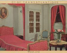 CGT FRENCH LINE SS NORMANDIE Jumieges Cabin Postcard