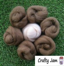 Needle Felting Natural Brown & Flesh Skin Pink Wool Rovings, 3D Animal Projects