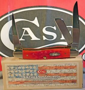 Case XX Dark Red Peach Seed Jigged Bone Medium Stockman Knife W/Punch