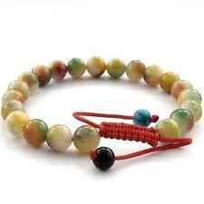 8mm Red Green Jade Tibet Buddhist Prayer Beads Mala Bracelet--21Beads