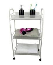 White Bathroom Storage Trolley 3 Tier Toiletry Linen Cart Metal Stand Wheels