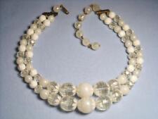 Vintage 2 Strand Art Deco White Translucent Opaque Lucite Beads Necklace