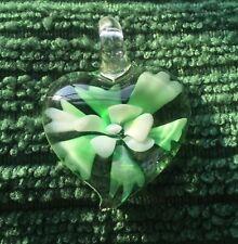 Vintage Art Glass Heart Pendant Green White Floral Flower Pretty Design Inside