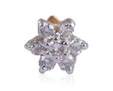 Nose Stud In Fine Hallmark 18K Gold Pave 0.18 Cts Round Brilliant Cut Diamonds