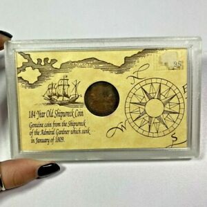 1808 East India Company Shipwreck Coin from Admiral Gardner 10 Cash in Case