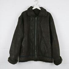 Vintage Black Aviator Flight Leather Shearling Jacket Size Mens Large /R40008