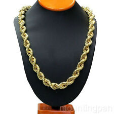 "Rope Chain 24.4"" 24k Yellow Gold Filled Mens Necklace 7mm Wide"