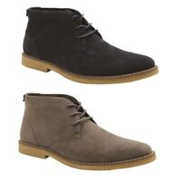 MENS GROSBY MILN DRESS WORK FORMAL DRESS MEN'S LACE UP FAUX SUEDE SHOES BOOTS