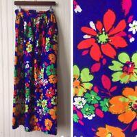 Vtg 60s 70s Purple Floral Maxi Skirt High Slit Belt Size S