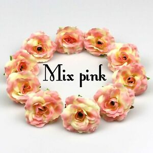 10/100Pcs Artificial Flower Heads 5cm Silk Rose Flowers for Wedding Wreath Decor