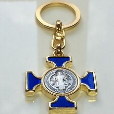 St Benedict Blue and Gold Celtic Maltese Keychain Italy