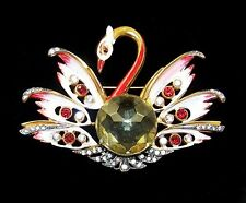 REINAD 1940's Enamel and Citrine Huge Swan Pin