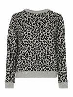 WHISTLES Ladies Grey Marl Cheetah Print Flocked Sweatshirt Jumper XS RRP79 BNWT