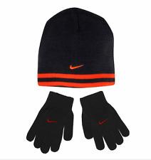 Boys Nike Hat & Gloves Set Youth 8-20 Gray Crimson striped 2 piece set