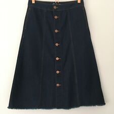 NEW Marks & Spencer Limited A-Line Long Midi Button Front Denim Pocket Skirt 10