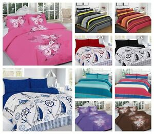 Luxurious Reversible Duvet Cover Set With Pillowcase Single Double Super King