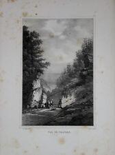 """Lithographie de PINGRET, """"Val de travers"""". Suisse, XIXe"""