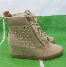 "Skintone 3""Wedge Heel Round Toe Lace Up Gold  STUD Ankle Boot Size 10"