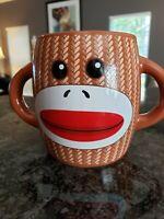 Sock Monkey Ceramic Coffee Mug Cup Two Double Handled Galerie