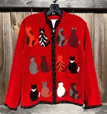 Womens Sz S Coldwater Creek Red Kitty Cat & Animal Print Zip-Up Sweater