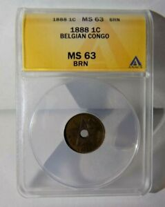 1888 1C ONE CENTIME BELGIAN CONGO ANACS MS 63 BN Colonial Certified Graded Coin