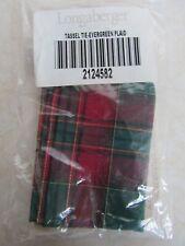 New Longaberger Evergreen Plaid Tassel Tie Basket Accessory #2124582
