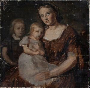 Adolf Friedrich Georg Wichmann - Mutter mit Kindern - Öl auf Leinwand - o.J.