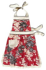 Anthropologie 3D Toile Apron Red Grey White Shower Hostess Holiday Mothers Gift