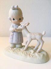 RETIRED Precious Moments figurine To My Deer Friend 100048 Girl Feeding Deer