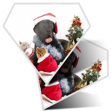 2 x Diamond Stickers 7.5 cm - Cute Dogs Cats Christmas Festive  #8126