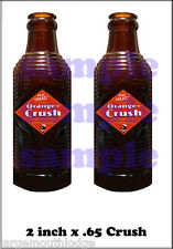 "2"" ORANGE CRUSH BOTTLE DECALS GUMBALL NUT MACHINE"