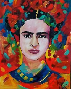 MARINA REHRMANN Original Abstract Painting Frida Kahlo Cert Art 28 x 22 🧿🧿🧿🧿