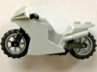 Lego Light Bluish Gray Motorcycle Sport Bike Black Frame, Flat Silver Wheels