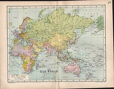 1903 MAP ~ THE OLD WORLD CABLES STEAMSHIP ROUTES POSSESSIONS EUROPE AFRICA ASIA