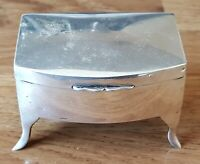 Hallmarked silver vintage Art Deco antique footed trinket ring box