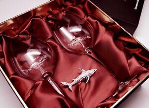 Swarovski Shark Ornament with Two Rose Wine Glasses! Rhodium Montana
