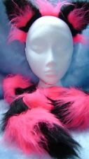 The Cheshire Cat Halloween Fancy Dress Ears And Tail Pink And Black Long Tail