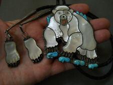 "RAY & EVA WYACO polar bear inlaid stone bolo tie 3 3/4"" x 3"""