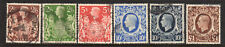 1937-1948 GB Great Britain SC 249-251A & 275 SG 476-478b, KGVI Set of 6, Used*