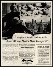 1945 MARTIN Aircrafts - MARTIN Mars Transport Airplanes - New York VINTAGE AD