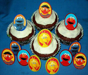 SESAME STREET CHARACTER RINGS FOR DECORATING CUPCAKES - Pack of 12