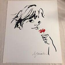 "Audrey Preissler ""Girl"" & Red Flower - Dargis Assoc. 1980 Art Print/Poster NOS"