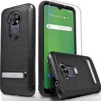 For AT&T Radiant Max Phone Case, Shockproof Kickstand Case + Tempered Glass