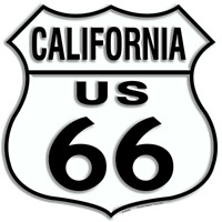"US ROUTE 66 CALIFORNIA 12 X 12"" SHIELD METAL TIN EMBOSSED HISTORIC HIGHWAY SIGN"