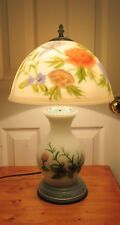 Vintage Reverse Painted Frosted Table Lamp