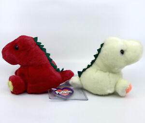Swibco PuffKins x 2 Dinosaur Red Yellow Plush Hang Tags 4.5in Stuffed Animal