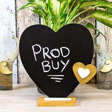 Free-standing 22cm Love Heart Memo Chalk Black Board Vintage Shabby Chic Wedding