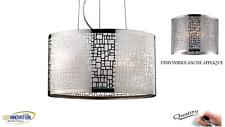 Lampadario sospensione plafoniera soffitto design moderno acciaio cromato ARIEL