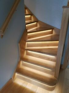 Oak LED Grooved Staircase Steps Cladding System 13 Straight Treads and Risers