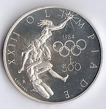 SAN MARINO 1984 LIRE 500  ARGENTO FONDO SPECCHIO AG. Olimpiadi  U.S.A. PROOF
